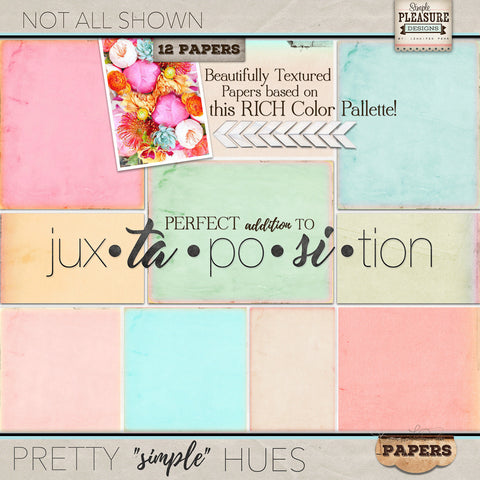 "Jux-ta-po-si-tion ""Pretty simple Hues"" Paper Pack"
