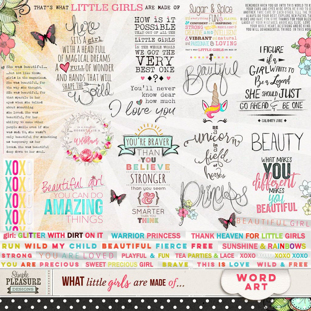 What Little Girls Are Made Of Word Art Pack