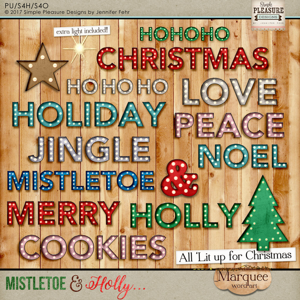 Mistletoe & Holly Marquee Words