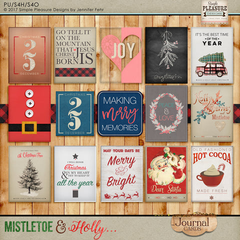 Mistletoe & Holly Journal Cards