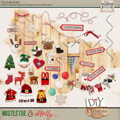 Mistletoe & Holly DIY Bunting Kit