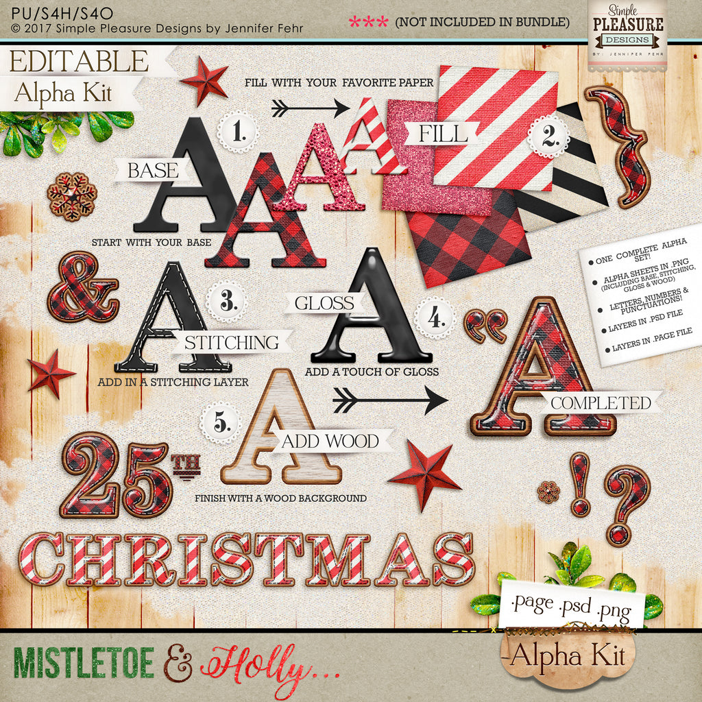 Mistletoe & Holly (Editable) ALPHA KIT