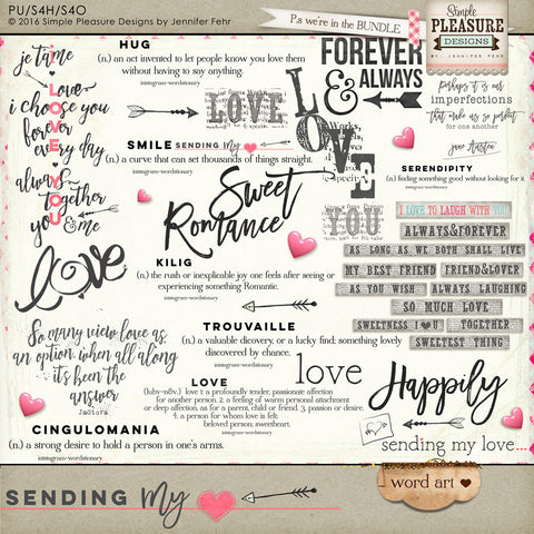 Sending My Love Word Art