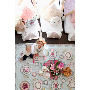 TINSELTOT Tea Party Rug Slip Cover Play Mat