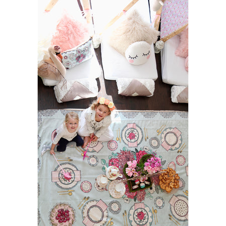 TINSELTOT Tea Party Rug Slip Cover Play Mat 4 x 6