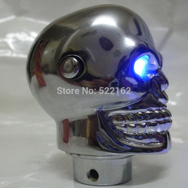 Universal Skull Head Blue LED Gear Knob