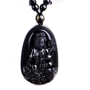 Unique Natural Black Obsidian Carved Buddha