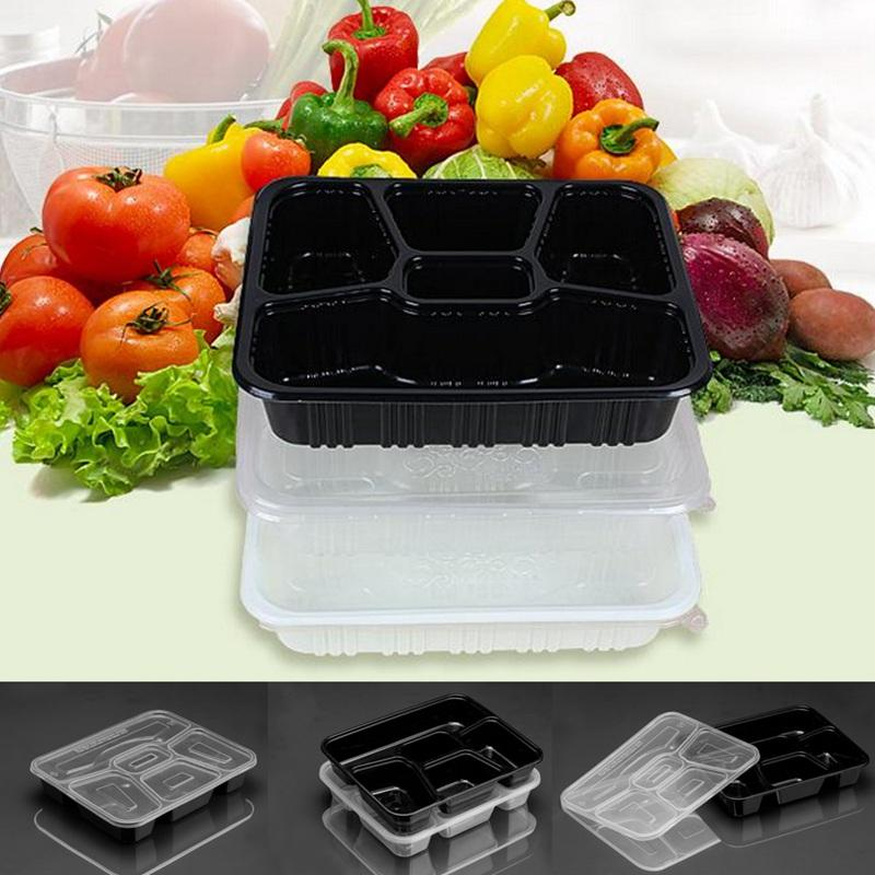 10Pcs/ 5 Compartment Meal Prep Containers