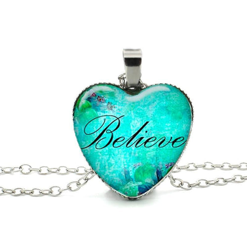 Believe Heart Charming Necklace