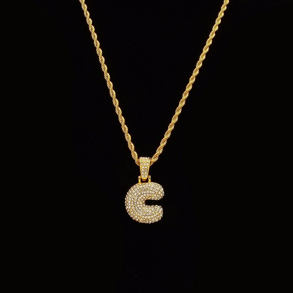Hip Hop Sparkles Name Letters Necklace