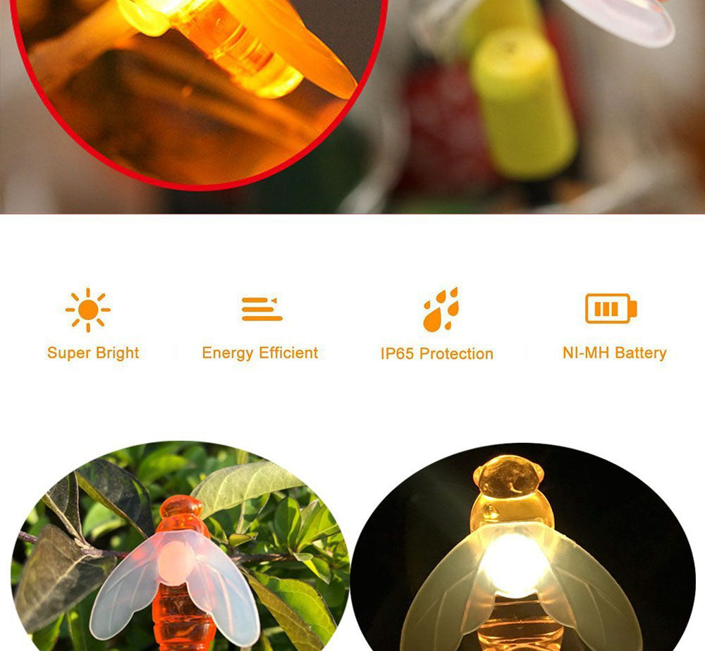 20 Waterproof Bee String Garden Solar LEDs
