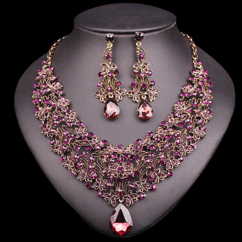 Fashion Necklace Earring Sets Vintage Bridal