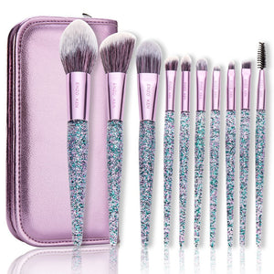 Sparkling 10 Pc Makeup Brushes- FREE Travel Bag