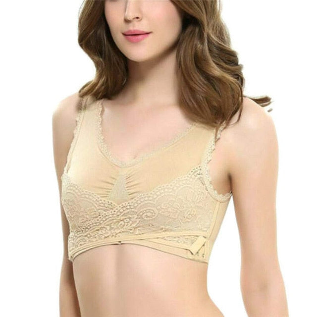 Wireless Front Cross Lace Breathable Bra