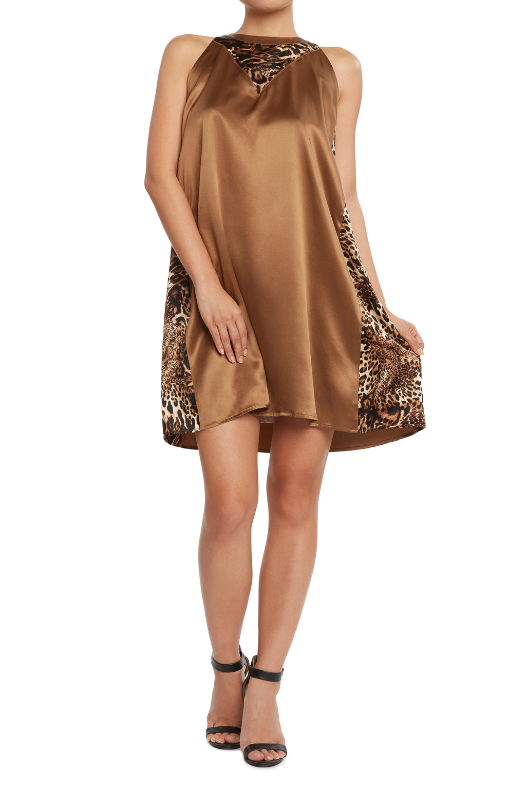 Silk Shift Dress Brown/Leopard