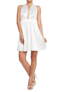 Silk Halter Dress White
