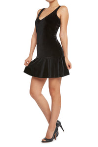 Velvet Drop Waist Dress Black