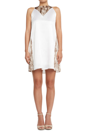 Silk Shift Dress White/Snake