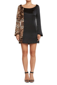 Silk Trumpet Sleeve Dress Black/Leopard
