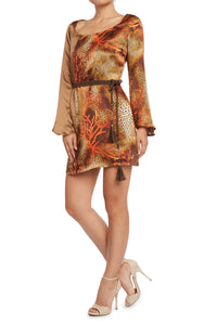 Silk Trumpet Sleeve Dress Brown/Animal