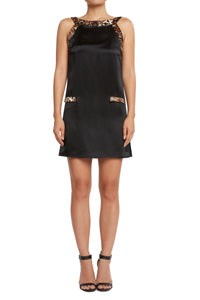 Silk A-line Dress Black/Leopard