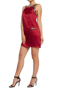 Silk A-line Dress Red
