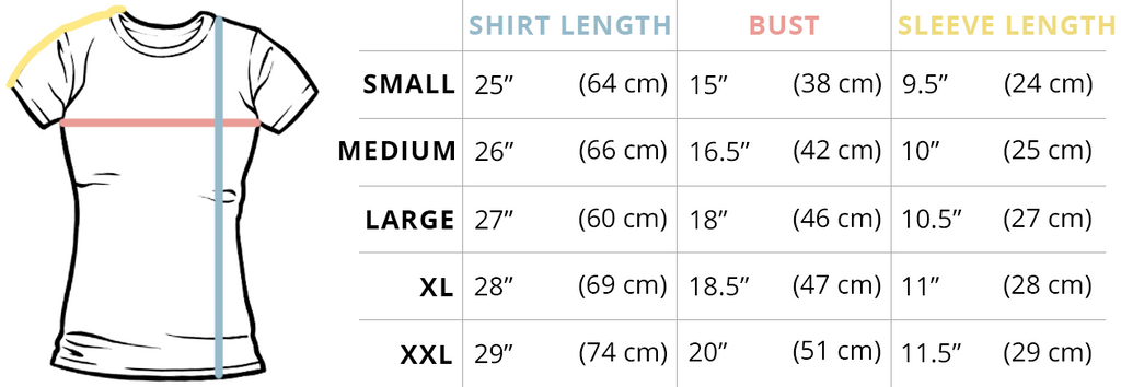 Juniors T-Shirt Fit Guide