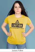 Caution: Glass Ceiling About to Shatter Yellow Juniors t-shirt Model Simply Fearless