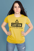 Caution: Glass Ceiling About to Shatter Yellow t-shirt Simply Fearless