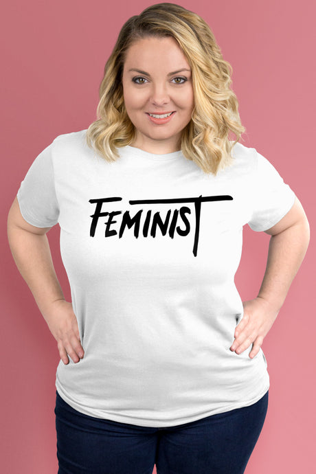 Feminist White t-shirt Simply Fearless