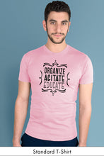 Organize, Agitate, Educate Light Pink Standard t-shirt Model Simply Fearless