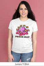 Proud Ally White Juniors t-shirt Model Simply Fearless