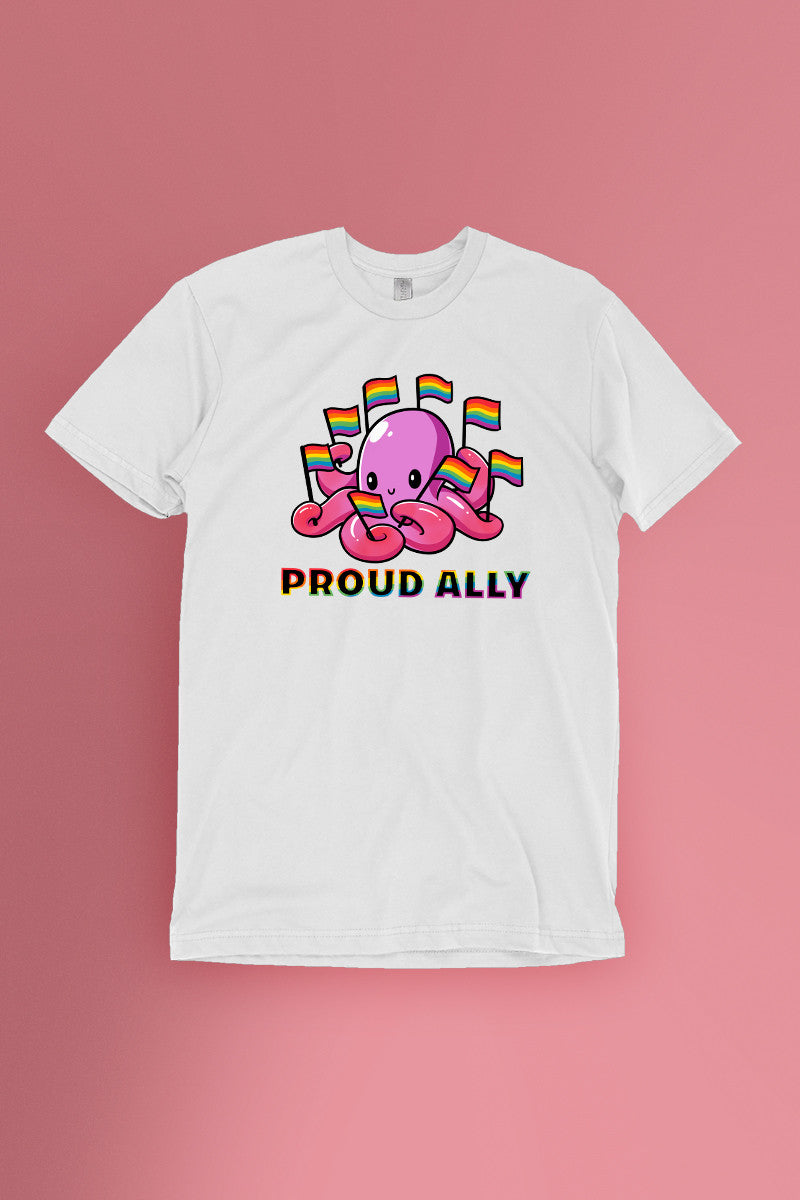 Proud Ally White t-shirt Simply Fearless