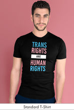 Trans Rights Are Human Rights Black Standard t-shirt Model Simply Fearless