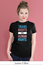 Trans Rights Are Human Rights Black Juniors t-shirt Model Simply Fearless