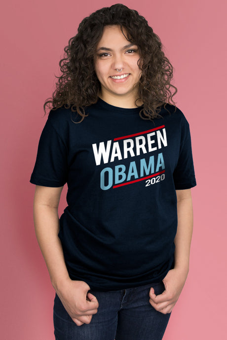 Warren/Obama 2020 Navy Blue t-shirt Simply Fearless