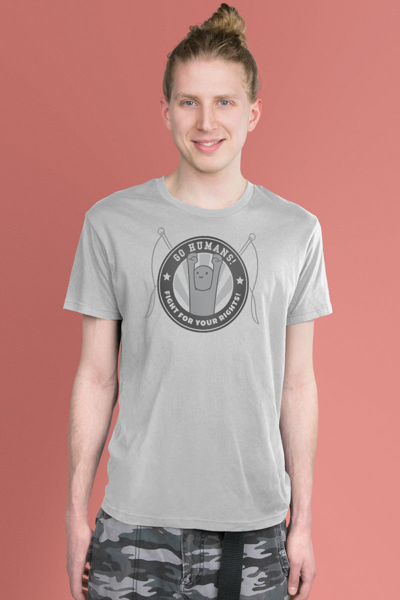 Go Humans! Light Gray t-shirt Simply Fearless