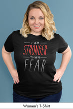 I Am Stronger Than Fear Black Women's t-shirt Model Simply Fearless