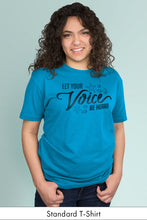Let Your Voice be Heard Turquoise Standard t-shirt Model Simply Fearless