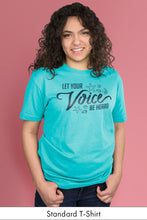 Let Your Voice be Heard Caribbean Blue Standard t-shirt Model Simply Fearless