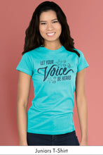 Let Your Voice be Heard Caribbean Blue Juniors t-shirt Model Simply Fearless
