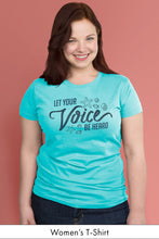 Let Your Voice be Heard Caribbean Blue Women's t-shirt Model Simply Fearless
