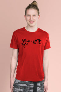Love is Greater Than Hate Red t-shirt Simply Fearless