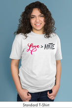 Love is Greater Than Hate White Standard t-shirt Model Simply Fearless