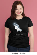 Stabby the Unicorn Black Women's t-shirt Model Simply Fearless