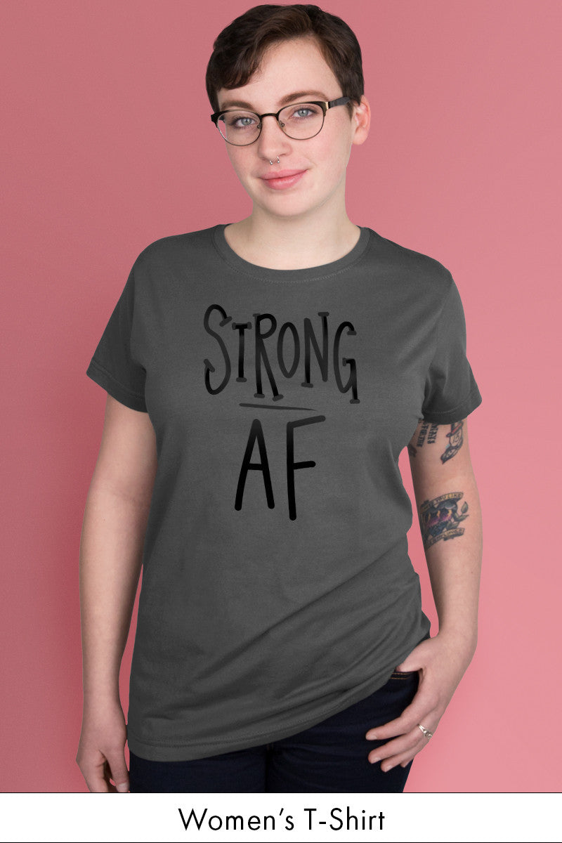 Strong AF Dark Gray Women's t-shirt Model Simply Fearless