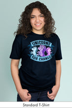 Unicorns for Change Navy Blue Standard t-shirt Model Simply Fearless