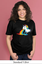 Where Rainbows Come From standard Black t-shirt model Simply Fearless