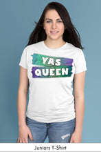 Yas Queen Blue on White Juniors t-shirt Model Simply Fearless