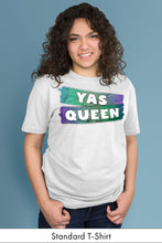 Yas Queen Blue on White Standard t-shirt Model Simply Fearless